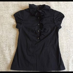 BCBG black ruffled top
